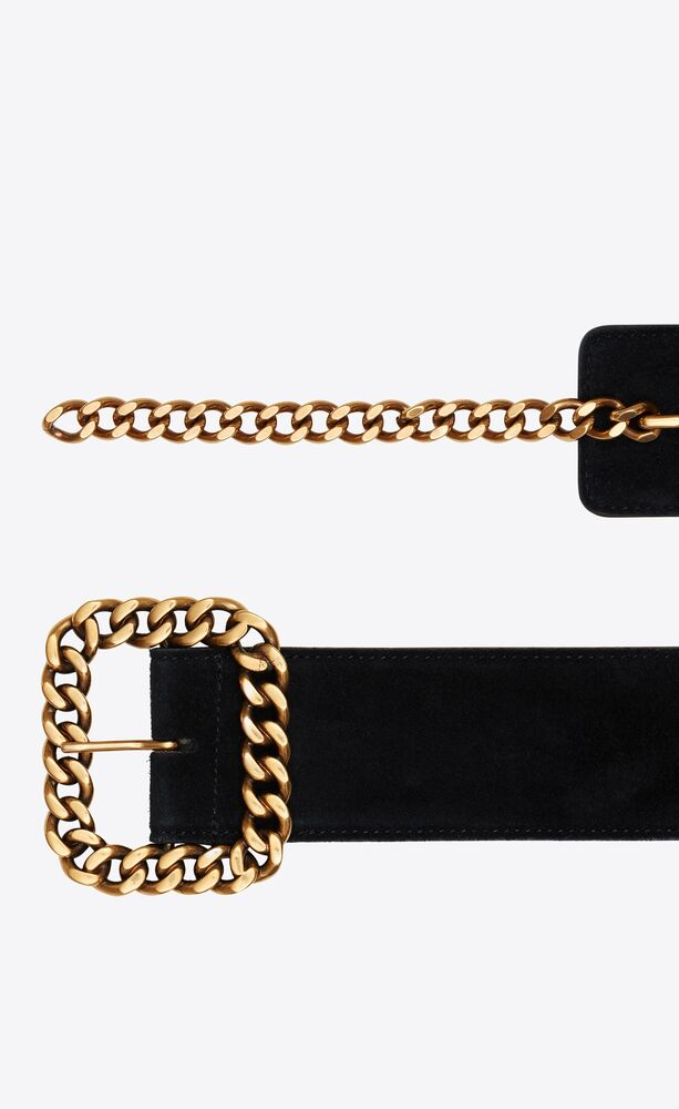 st sulpice square chain-buckle belt in suede