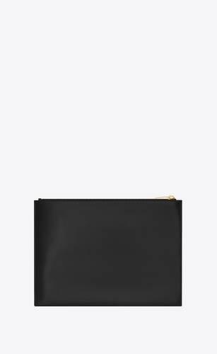 extrakleine monogram tablettasche mit reißverschluss aus glänzendem leder