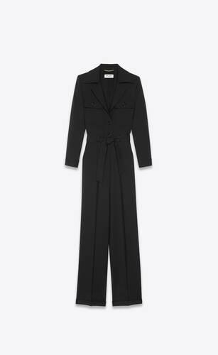 tailored jumpsuit in wool gabardine