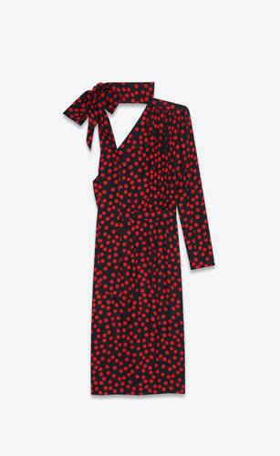 one-shoulder lavallière-neck dress in dotted silk