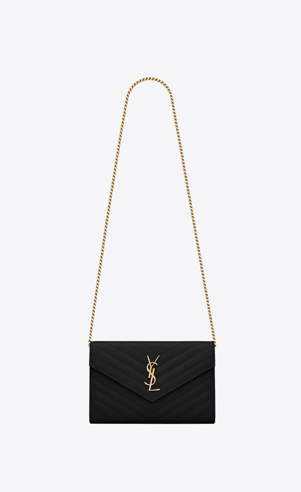 monogram chain wallet aus leder mit grain-de-poudre-struktur