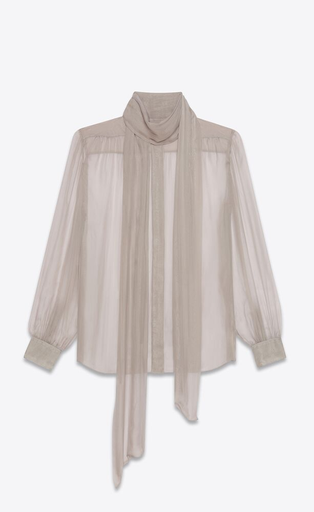 lavallière-neck blouse in silk muslin