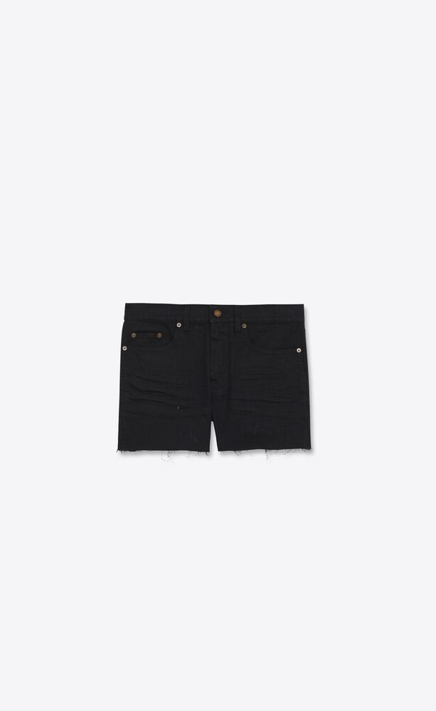 low-rise shorts in worn black denim