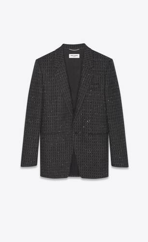 veste à boutonnage simple en tweed à carreaux