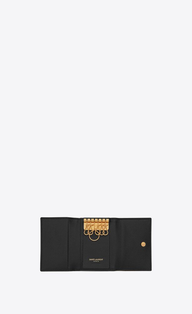 monogram key case in grain de poudre embossed leather
