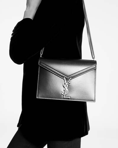 cassandra monogram clasp bag in box saint laurent leather