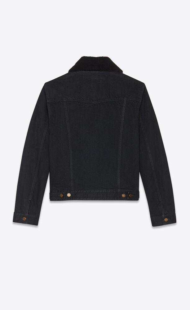 jacket en denim worn black et col en shearling
