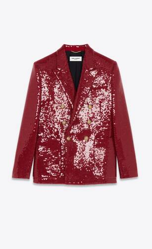 double-breasted oversized sequin jacket in wool tweed