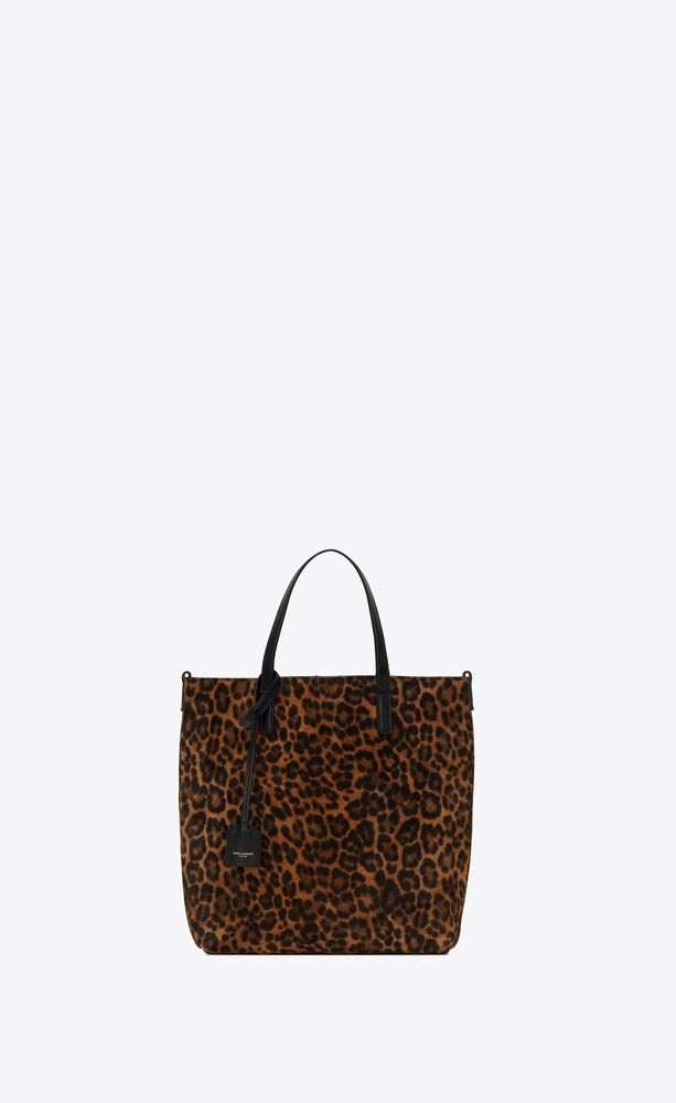 saint laurent toy shopping bag in leopard-print suede