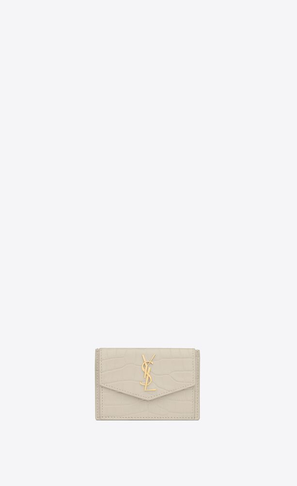 uptown card case in crocodile-embossed shiny leather