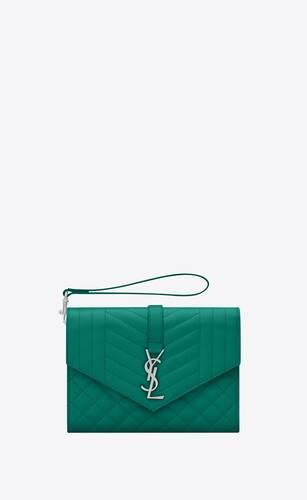 monogram flap pouch in mix matelassé grain de poudre embossed leather