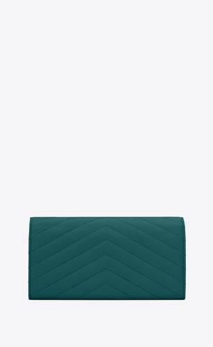 monogram grand portefeuille à rabat en cuir embossé grain de poudre