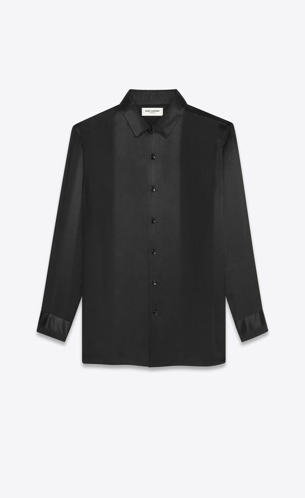 long overshirt in matte and shiny striped silk
