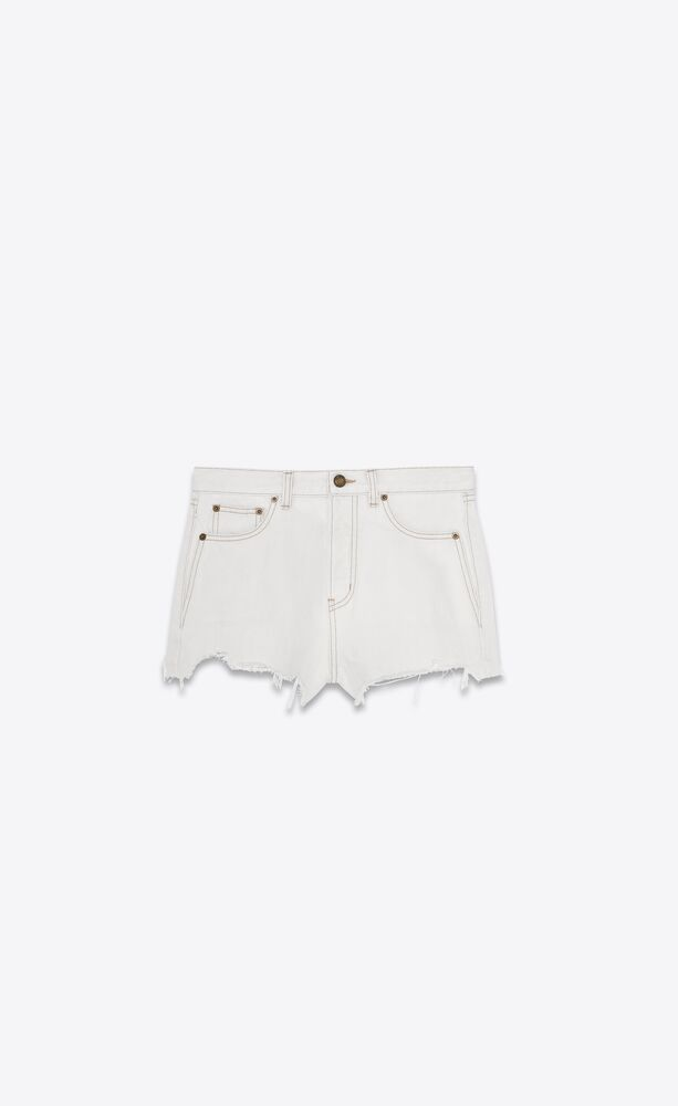 raw-edge shorts in gray off-white denim
