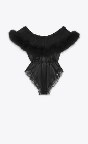 bodysuit in silk satin, lace and feathers