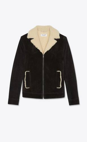 short jacket in suede with shearling