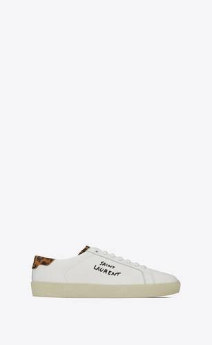 bestickte court classic sl/06 sneaker aus glattleder und wildleder mit leoparden-print
