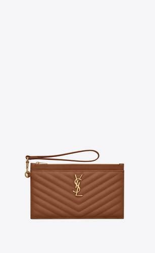 monogram large bill pouch in quilted grained leather