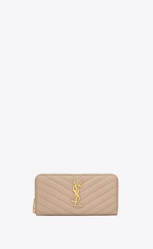 monogram grand portefeuille zippé en cuir embossé grain de poudre