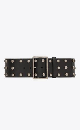 rectangle corset belt in smooth leather with studs