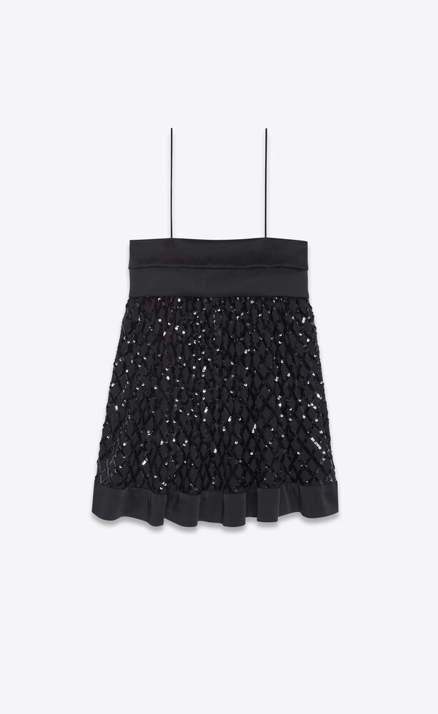 sleeveless dress in silk georgette and sequins