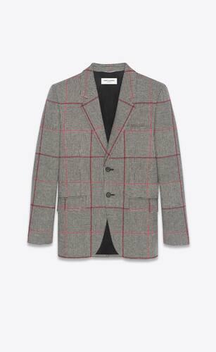 veste à boutonnage simple en tweed prince de galles