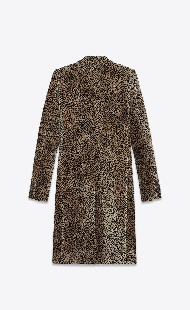 """chesterfield"" coat with mini leopard print"