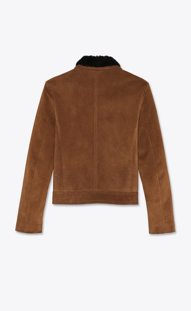 short western jacket in suede with shearling