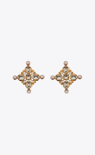 baroque cross earrings in metal