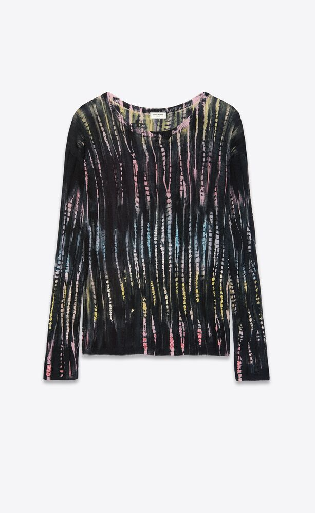 tie-dye embroidered knit sweater