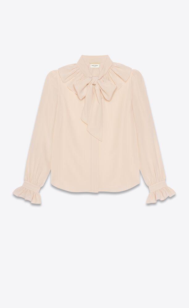 lavallière-neck ruffled blouse in silk crepe de chine