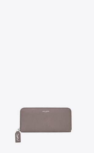 rive gauche zip around wallet in grained leather