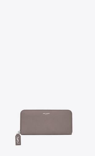 rive gauche zip around wallet in grained leather