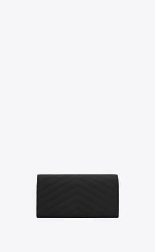 モノグラム・サンローラン フラップウォレット(ラージ/ブラック/グレインパウダーテクスチャード キルティングレザー)