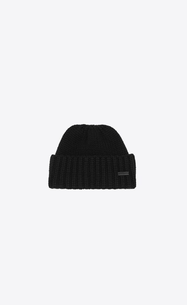 knitted cuff beanie in cashmere