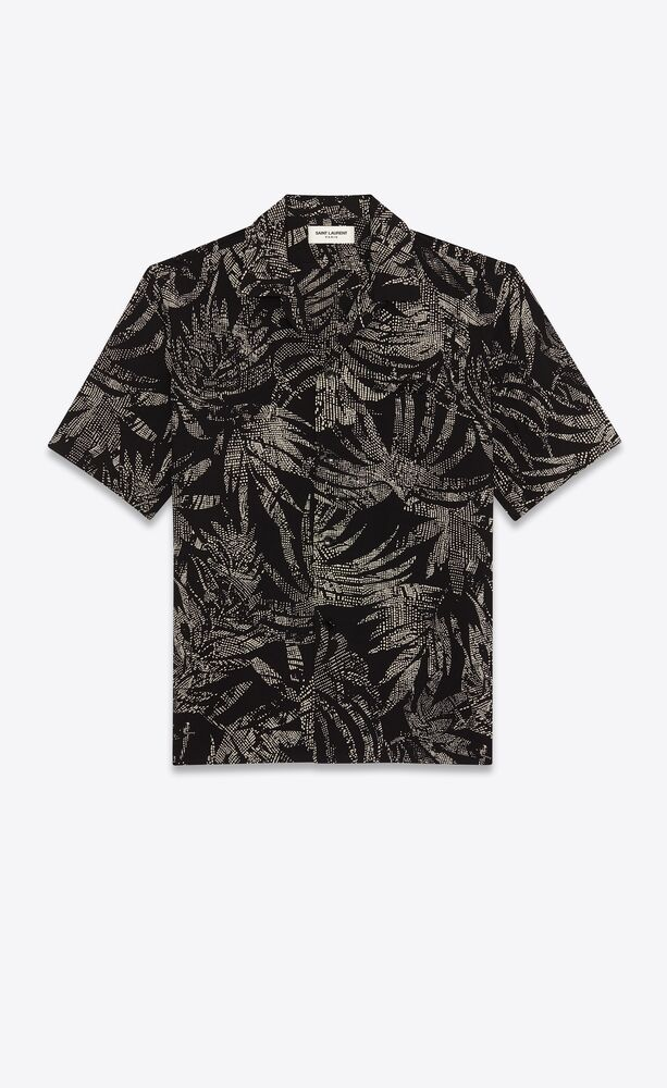 shark-collar shirt in dotted leaf viscose