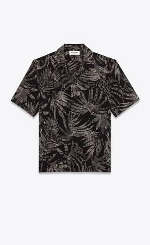 camisa de cuello italiano de viscosa con motivo de hojas y lunares