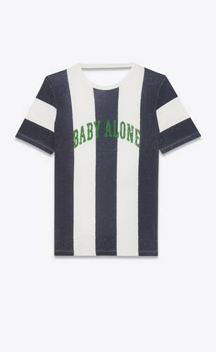 "striped ""baby alone"" t-shirt"