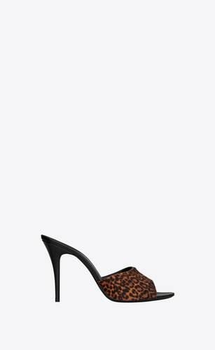 la 16 mules in leopard-print pony-effect leather