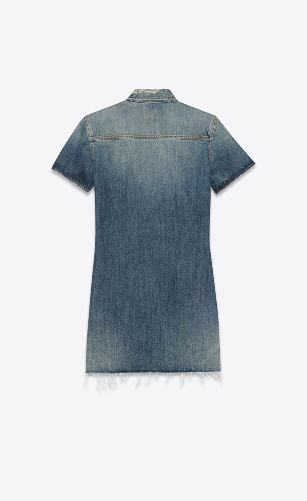 raw-edge dress in arizona light blue denim
