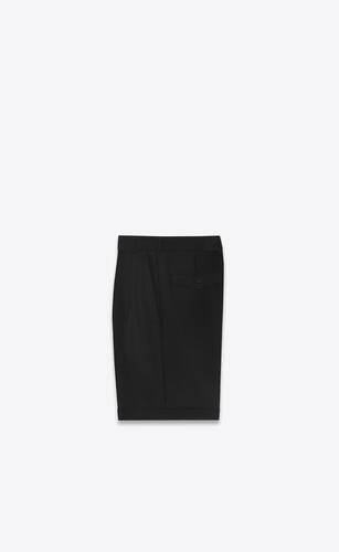 pleated tailored bermuda shorts in wool and mohair