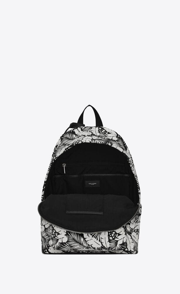 city backpack in tropical-print canvas