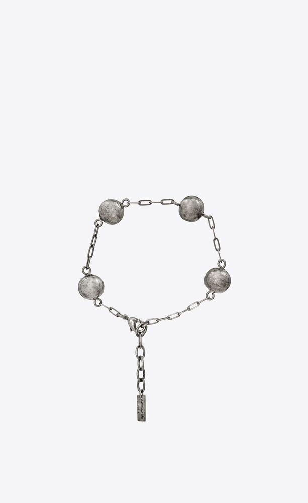 beaded chain bracelet in metal