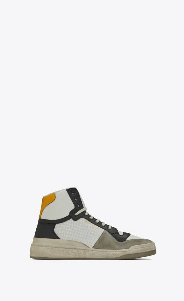 sl24 mid-top sneakers in perforated leather and suede