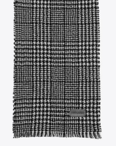 echarpe à carreaux en maille de laine et lurex