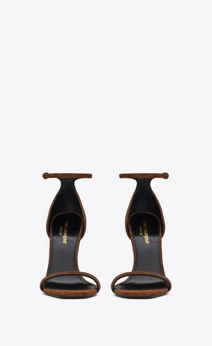 opyum sandals in suede with officer-gold tone heel