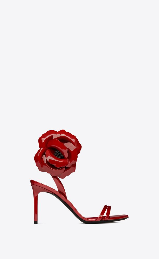 amber flower sandals in patent leather