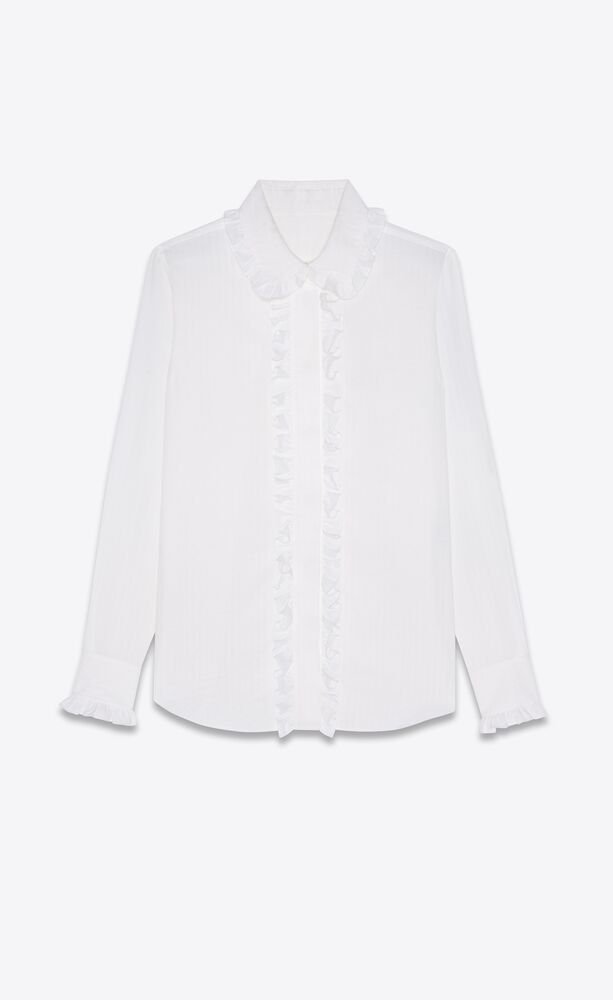 frilled shirt in striped cotton voile