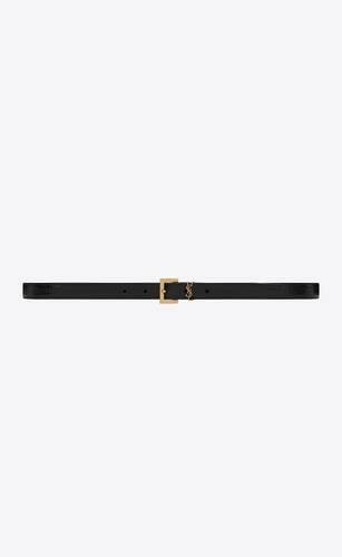 monogram ceinture fine à boucle carrée en cuir embossé lézard