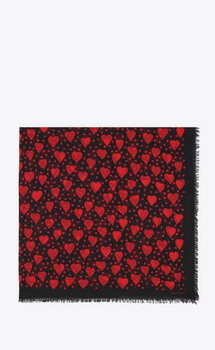 dots and hearts-print large square scarf in wool twill